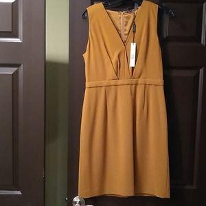 Elie tahari gold, orange, brown silk dress, 8, nwt